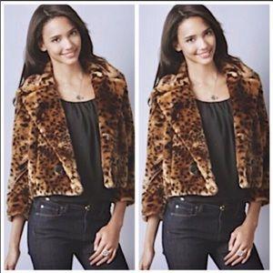 LOFT Animal Print Furr Leapord Jacket Size Medium